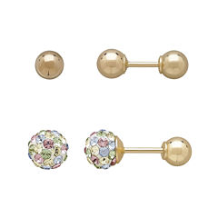 Infinite Gold™ Kids 14K Yellow Gold Mulitcolor Crystal-Accent and Ball Stud 2-pr. Earring Set