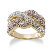 Multicolor Crystal 14K Gold Over Silver Crisscross Ring