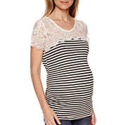 Maternity Short-Sleeve Striped Lace Knit Top