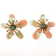 Round Blue Crystal Stud Earrings