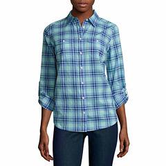 St. John's Bay Long Sleeve Button-Front Shirt-Talls