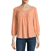 Liz Claiborne 3/4 Sleeve Solid Peasant Top