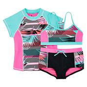 ZeroXposur® Tiki Rash Guard and 2-Piece Swimsuit Set - Girls 7-16