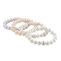 Cultured Freshwater White, Pink and Lavender Pearl 4-pc. Stretch Bracelet Set
