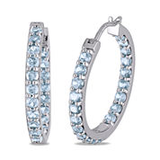 Genuine Blue Topaz Sterling Silver Inside-Out Hoop Earrings