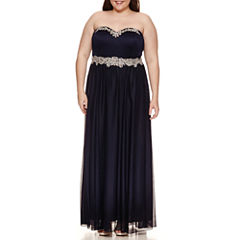 My Michelle Sleeveless Beaded Evening Gown-Juniors Plus