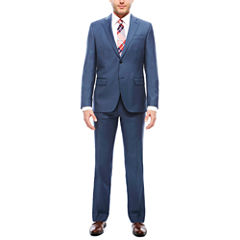 JF J. Ferrar Stretch Blue Sheen Sharkskin Suit Separates- Slim Fit