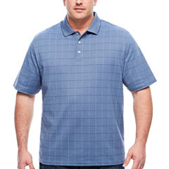 Van Heusen Short Sleeve Flex Printed Windowpane Grid Knit Polo- Big and Tall