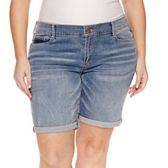 Arizona Denim Bermuda Shorts-Juniors Plus