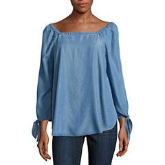 Liz Claiborne 3/4 Sleeve Off-Shoulder Woven Blouse