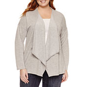 Claiborne Long Sleeve Cardigan-Plus
