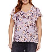 Liz Claiborne Short Sleeve V Neck Woven Blouse-Plus