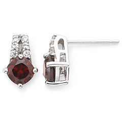 Sterling Silver Genuine Garnet & Lab-Created White Sapphire Earrings
