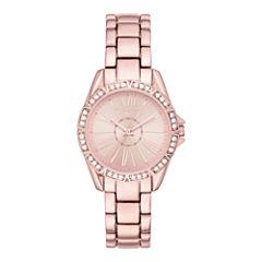 Liz Claiborne® Womens Rose-Tone Roman Numeral Watch