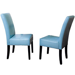 Bardem Set of 2 Bonded Leather Parsons Dining Chairs