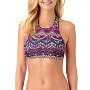 Arizona Geo Linear High Neck Swimsuit Top-Juniors