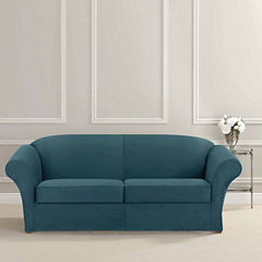 SURE FIT® Ultimate Heavyweight Stretch Suede Sofa Individual 2 Cushion Slipcover