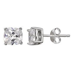 Silver Treasures Cushion Clear Diamond Accent Sterling Silver Stud Earrings