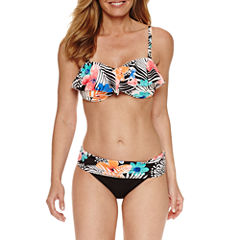 Pure Paradise® Bra Sized Floral Flounce Swimsuit Top or Fold Over Hipster
