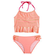 Limited Too Girls Solid Tankini Set