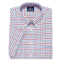 Stafford Travel Wrinkle-Free Oxford-Big & Tall Short-Sleeve Dress Shirt