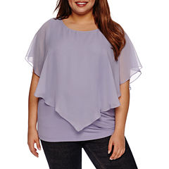 Alyx Short Sleeve Woven Overlya Blouse-Plus