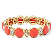Monet® Orange Stone and Crystal Gold-Tone Stretch Bracelet