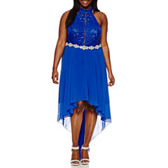 City Triangle Sleeveless Lace Evening Gown-Juniors Plus