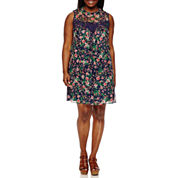 My Michelle Sleeveless A-Line Dress-Juniors Plus
