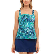 St. John`s Bay® Muted Reptile Pleated Square Neck Tankini or Ruffle Hem Skirt