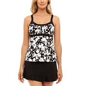 St. John`s Bay® Dotty Daisy Framed Peasant Tankini or Ruffle Hem Skirt