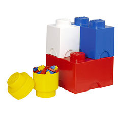 4 Piece Multi Pack Storage Brick Lego Toy Box