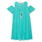 Speechless Short Sleeve Cold Shoulder Sleeve Dress Set - Big Kid