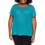Worthington® Short Sleeve Scoop Neck Woven Blouse - Plus