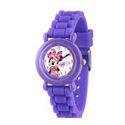 Disney Minnie Mouse Girls Purple Strap Watch-Wds000137
