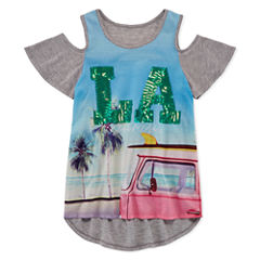 Total Girl Cold Shoulder Sublimated Top - Girls' 7-16 and Plus