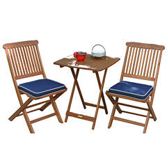 Outdoor Interiors 3pc. Square Bistro Set with BlueCushions