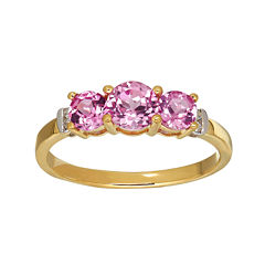Lab-Created Pink Sapphire and Diamond-Accent 10 K Yellow Gold 3-Stone Ring