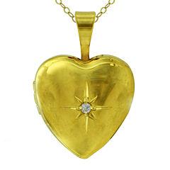Girls Cubic Zirconia 14K Yellow Gold Heart Locket Pendant Necklace