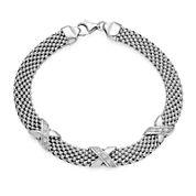 Crystal Sterling Silver X Popcorn Bracelet