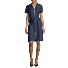 Sharagano Short Sleeve Shirt Dress