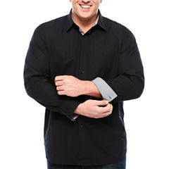 Society Of Threads Solid Button-Front Shirt-Big and Tall
