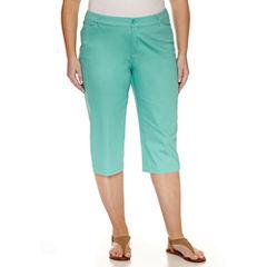 St. John's Bay® Secretly Slender Twill Cropped Pants-Plus (19