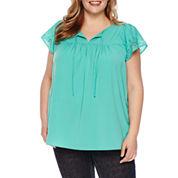 St. John's Bay Short Sleeve V Neck Woven Blouse-Plus