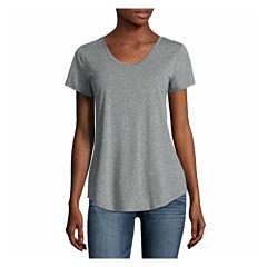 a.n.a Short Sleeve U Neck T-Shirt-Womens Talls