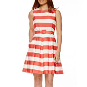 R&K Originals® Sleeveless Stripe Fit-and-Flare Dress