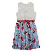 Disorderly Kids® Belted Lace and Floral Pleated Dress - Girls 7-16
