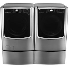 LG 5.2 cu. Ft. Front Load Washer and 9.0 cu. Ft. Electric Dryer Bundle w/ Pedestals