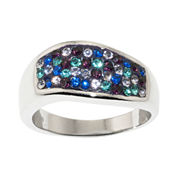 Silver-Plated Multi Blue Crystal Wave Ring