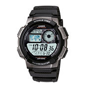 Casio® Illuminator Mens Black/Gray Bezel Digital Sport Watch AE1000W-1BV